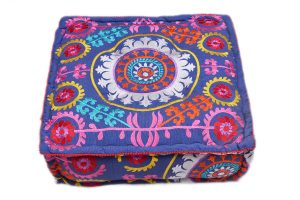 Home Decorative Pouf Ottomans With Colorful Hand Embroidery-0