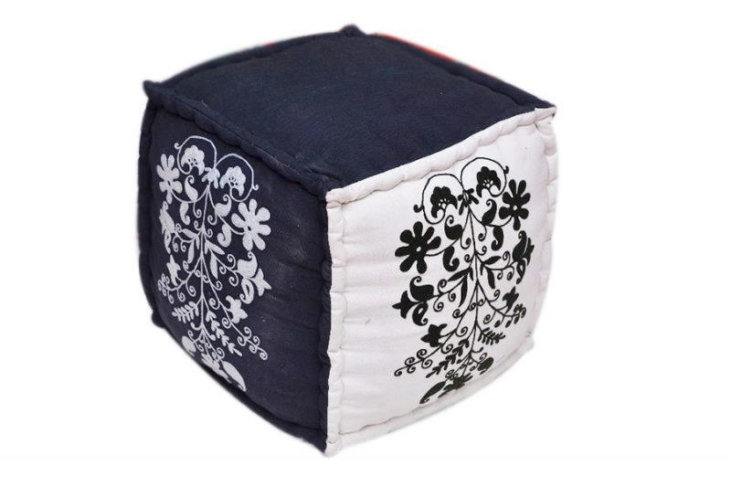 Beautiful Black And White Contrasted Decorative Square Ottomans-0