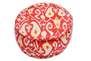 Designer Orange And White Round Pouf Ottoman With Ethnic Designs-0
