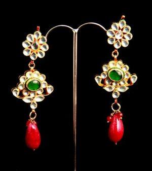 Elegant Kundan Earrings in Chandelier Style for Stylish Women-0
