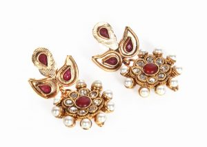 Elegant Latest Design Red Fashion Earrings with Pearls Available Online -0