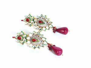 Elegant White Kundan Stone Fashion Earrings Available Through Online Shopping-0