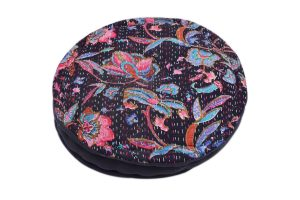 Buy Online Black Round Embroidery Work Footstool From India-0