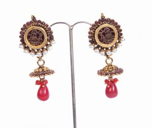 Fashion Earring Collection in Pearls with Red Drops for Indian Women-0