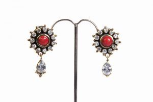 Fashion Earrings from India in CZ and Coral Stones at Wholesale Price-0