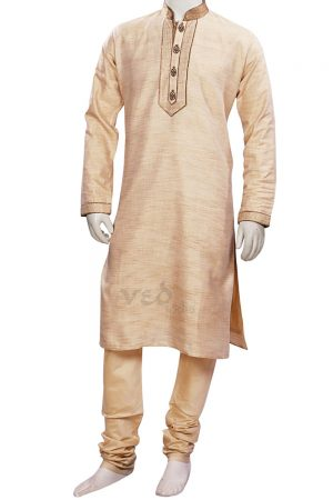 Fawn Colored Indian Kurta Pajama Set for Men in Cotton-0