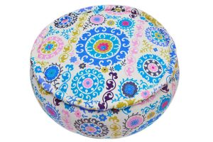 Buy Online Designer Colorful Floral Print Round Pouf Ottomans-0