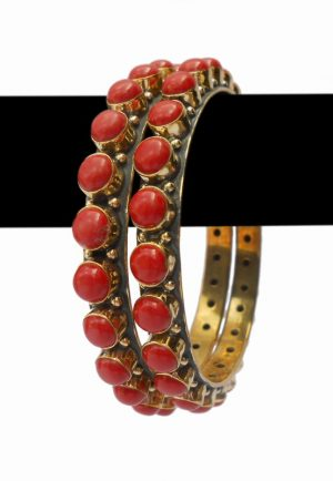 Gorgeous Coral Stones Desire Wedding Bangles from India -0
