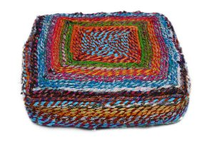 Buy Cheap Handmade Pouf Ottomans With Colorful Stripes-0