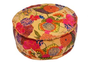 Shop Online Floral Print Handmade Round Ottomans From India-0