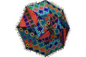 Colorful Abstract Pattern Indian Handmade Summer Umbrella with Mirror Work-0