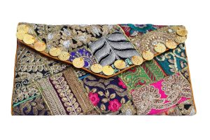 Colorful Indian Clutch Bags with Aari Tari Work and Coin Embellished-0