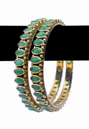 Latest Design Beautiful Indian Fashion Desire Bangles in Green Color-0