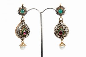 Indian Fashion Earrings in White CZ Stones with Pearl Drops-0