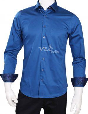 Latest Design Stylish Blue Color Party Cotton Shirt for Men-0
