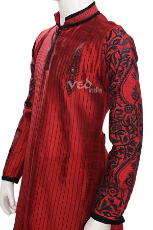 Maroon Fashionable Indian Kurta Pajama Set for Men for Weddings-0