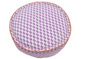 Soothing White Modern Round Poufs With Purple Floral Patterns-0