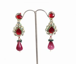 Modern Style Fashion Earrings in White Stones with Red Drops from India -0