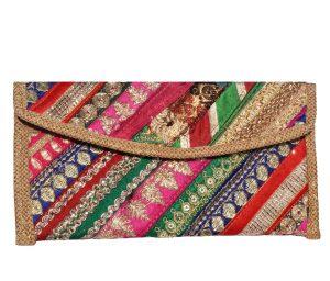 Multicolor Antique Old Zari Patchwork Banjara Ladies Clutch Bag -0