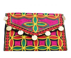Multicolored Coin Embellished Aari Traditional Clutch Bag for Parties -0