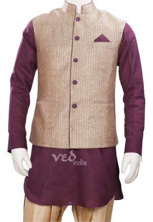 Nehru Jacket and Kurta Set for Men in Golden and Maroon-0