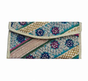 Multicolor Old Zari Work Embroidered Handmade Ladies Clutch Bag -0