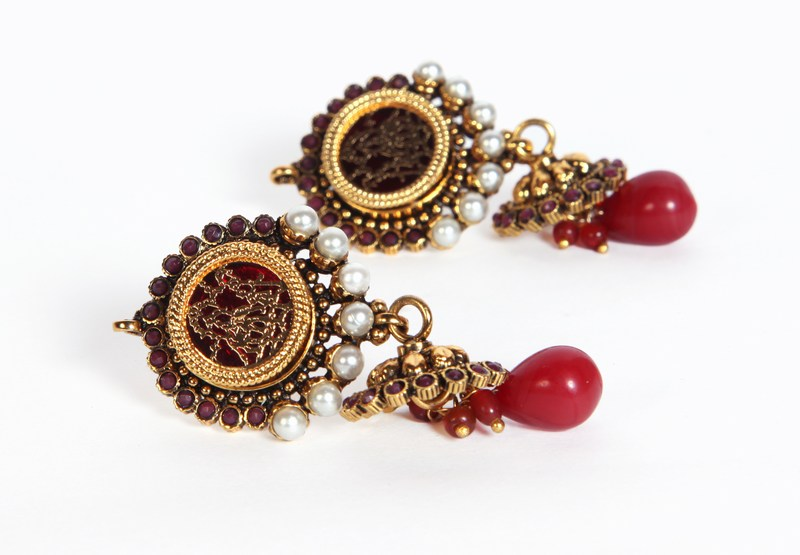 Fashion Earring Collection in Pearls with Red Drops for Indian Women-1588