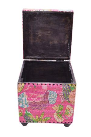 Buy Online Handmade Pink Cube Ottoman With Floral Patterns-0