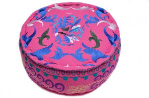 Buy Online Pink Round Ottomans With Beautiful Hand Stitched Designs-0