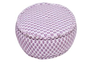 Designer Printed Round Ottomans With White And Purple Combination-0