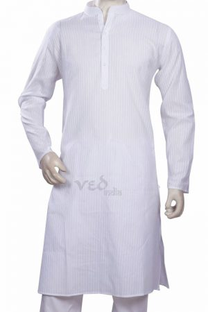 Readymade White Kurta Pjyama for Men for Casual Parties-0