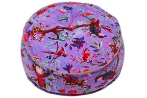 Beautiful Designer Purple Round Decorative Ottomans in Nature Print-0