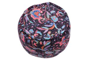 Stylish Striking Flower Print Black Round Designer Ottomans-0