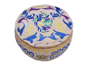 Traditional White Round Pouf Ottomans With Hand Stitched Design-0