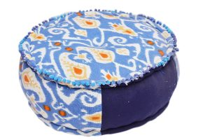 Traditional Decorative Blue Round Pouf Ottomans in Modern Designs-0