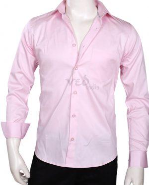 Shop Online Officer Fit Formal Cotton Shirt in Pink Color-0