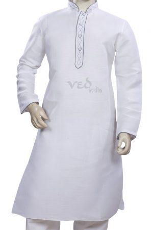 Simple White Indian Kurta Pajama Set for Men in Cotton-0