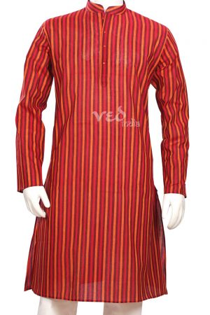 Red Stripes Smart Men's Cotton Kurta Pajama Set for Casual Wear-0