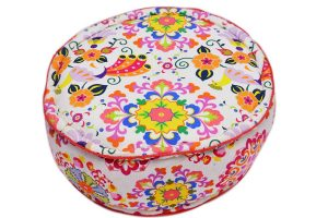 Buy Designer Colorful Soft Fabric Pouf Ottomans From India-0