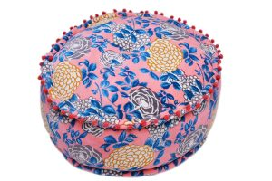 Buy Luxury Round Soft Pouf Ottomans With Floral Fabric Designs-0