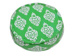 Fashionable Green Round Soft Pouf Ottomans With White Designs Patterns-0