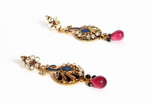 Special Occasion Fashion Earrings in Blue Peacock color with Red Drops-0