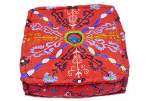 Buy Designer Square Handmade Pouf Ottomans With Hand Stitched Design-0