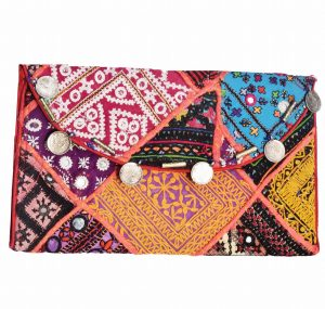 Vibrant Colorful Pakistani Style Vintage Mirrors Clutch Bag for Women-0