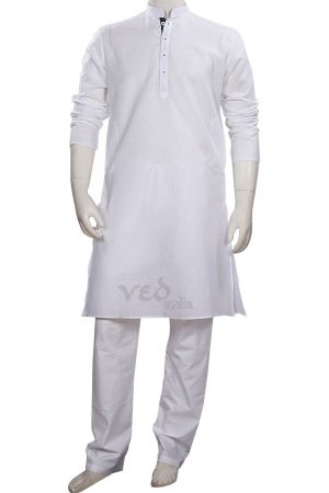 Casual Wear White Ethnic Men's Wear Cotton Kurta Pajama Set -0