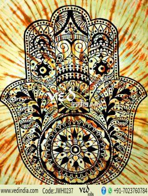 Yellow Fatima Hand Mandala Tapestry