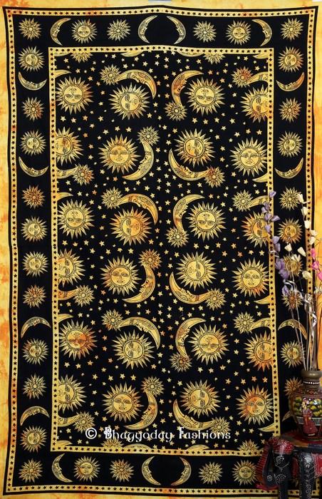 Yellow Indian Hippie Podar Sun Moon Stars Tie Dye Tapestry -0