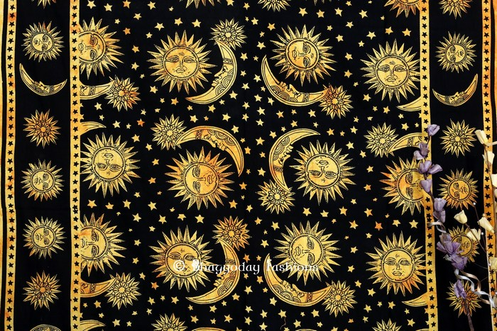 Yellow Indian Hippie Podar Sun Moon Stars Tie Dye Tapestry -2684