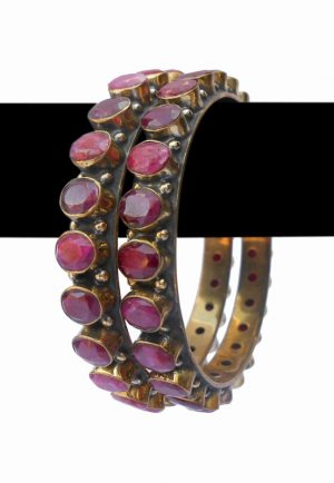 Buy Online Beautiful and Elegant Ruby Stone Bangles from India-0