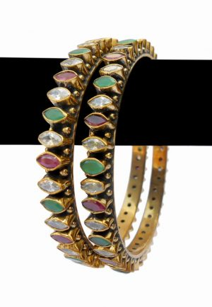 Beautiful Designer Desire Bangles in Red, Green and White Stones-0